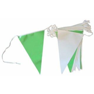 Wimpelkette Kunststoff, grün/weiß, 4 Meter, 16 Wimpel