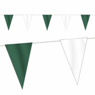 Wimpelkette Stoff, grün/weiß, 10 Meter