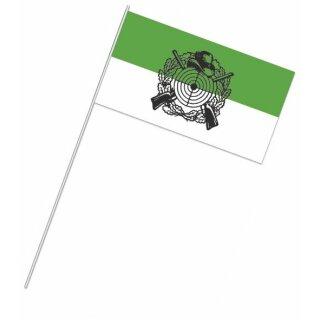 Papierfähnchen, grün/weiß, mit Schützenemblem, Bündel mit 50 Stück
