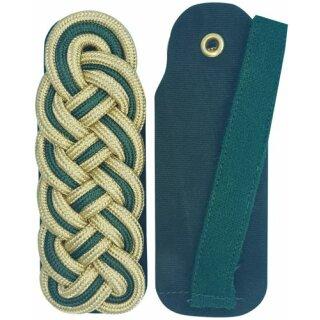 Schultergeflecht, Majorsgeflecht, Rundschnur schützengrün gold, Filz